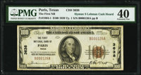 Paris, TX - $100 1929 Ty. 1 The First National Bank Ch. # 3638 PMG Extremely Fine 40