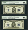 Small Size:Silver Certificates, Changeover Pair Fr. 1654/1654 $5 1934D Wide I/1934D Narrow Silver Certificates. PMG Gem Uncirculated 66 EPQ.. ... (Total: 2 notes)