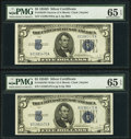 Reverse Changeover Pair Fr. 1654/1654 $5 1934D Narrow/1934D Wide I Silver Certificates PMG Gem Uncirculated 65 EPQ...