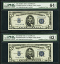 Reverse Changeover Pair Fr. 1654 Narrow/1654 Wide I $5 1934D/1934D Silver Certificates. PMG Choice Uncirculated 64 EPQ;...