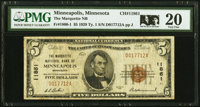 Minneapolis, MN - $5 1929 Ty. 1 The Marquette National Bank Ch. # 11861 PMG Very Fine 20