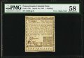Pennsylvania March 10, 1769 1s PMG Choice About Unc 58