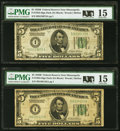 Small Size:Federal Reserve Notes, Fr. 1952-I $5 1928B Federal Reserve Notes. Two Examples. PMG Choice Fine 15.. ... (Total: 2 notes)