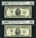 Changeover Pair Fr. 1961-H/1961-H $5 1950 Wide I/Narrow Federal Reserve Notes. PMG Choice Uncirculated 63 EPQ