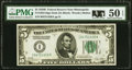 Small Size:Federal Reserve Notes, Fr. 1952-I $5 1928B Federal Reserve Note. PMG About Uncirculated 50 EPQ.. ...