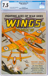Wings Comics #12 (Fiction House, 1941) CGC VF- 7.5 Off-white to white pages