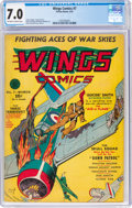 Golden Age (1938-1955):War, Wings Comics #7 (Fiction House, 1941) CGC FN/VF 7.0 Off-white to white pages....