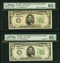 Small Size:Federal Reserve Notes, Changeover Pair Fr. 1959-C/1960-C $5 1934C Wide/1934D Federal Reserve Notes. PMG Choice Uncirculated 64 EPQ/Gem Uncirculated 6... (Total: 2 notes)