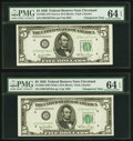Reverse Changeover Pair Fr. 1961-D/1961-D $5 1950 Narrow/1950 Wide I Federal Reserve Notes. PMG Choice Uncirculated 64 E...