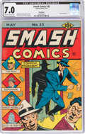 Golden Age (1938-1955):Superhero, Smash Comics #33 Rockford Pedigree (Quality, 1942) CGC FN/VF 7.0 Off-white to white pages....