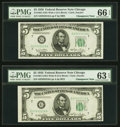 Changeover Pair Fr. 1961-G/1961-G $5 1950 Wide I/1950 Wide II Federal Reserve Notes. PMG Gem Uncirculated 66 EPQ; Choice...