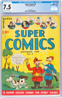 Super Comics #5 (Dell, 1938) CGC VF- 7.5 Off-white to white pages