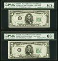 Small Size:Federal Reserve Notes, Reverse Changeover Pair Fr. 1961-G Wide II/Wide I $5 1950 Federal Reserve Notes. PMG Graded Gem Uncirculated 65 EPQ; Choice Un... (Total: 2 items)