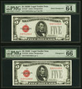 Changeover Pair Fr. 1527/1528 $5 1928B Mule/1928C Legal Tender Notes. PMG Choice Uncirculated 64 EPQ; Gem Uncirculated 6...