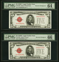 Small Size:Legal Tender Notes, Reverse Changeover Pair Fr. 1529/1528 $5 1928D/1928C Legal Tender Notes. PMG Gem Uncirculated 66 EPQ; Choice Uncirculated 64 E... (Total: 2 notes)