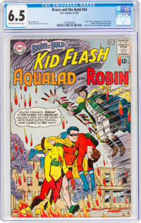 The Brave and the Bold #54 Kid Flash, Aqualad, and Robin (DC, 1964) CGC FN+ 6.5 Off-white to white pages