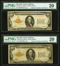 Small Size:Gold Certificates, Fr. 2405 $100 1928 Gold Certificates. Two Examples. PMG Very Fine 20.. ... (Total: 2 notes)