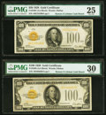 Small Size:Gold Certificates, Fr. 2405 $100 1928 Gold Certificates. Two Examples. PMG Graded Very Fine 25; Very Fine 30.. ... (Total: 2 notes)
