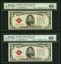 Changeover Pair Fr. 1531/1531 $5 1928F Wide I/Narrow Legal Tender Notes. PMG Gem Uncirculated 66 EPQ