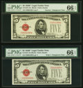 Reverse Changeover Pair Fr. 1531/1531 $5 1928F Narrow/1928F Wide Legal Tender Notes. PMG Gem Uncirculated 66 EPQ