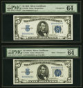 Changeover Pair Fr. 1650/1651 $5 1934/1934A Mule Silver Certificates. PMG Choice Uncirculated 64 EPQ