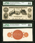 Obsoletes By State:New Jersey, Bordentown, NJ- Bordentown Banking Co. $100 18__ as G12 Proof; Back Proof PMG Choice Uncirculated 64; PMG Gem Uncirculated... (Total: 2 notes)