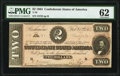 Confederate Notes:1864 Issues, T70 $2 1864 PF-1 Cr. 569 PMG Uncirculated 62.. ...
