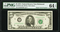 Radar Serial Number 53333335 Fr. 1973-E $5 1974 Federal Reserve Note. PMG Choice Uncirculated 64 EPQ