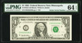 Radar Serial Number 93333339 Fr. 1922-I $1 1995 Federal Reserve Note. PMG Choice Uncirculated 64 EPQ