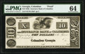 Obsoletes By State:Georgia, Columbus, GA- Insurance Bank of Columbus at ______ $10 18__ UNL Proof PMG Choice Uncirculated 64.. ...