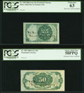 Fractional Currency:Fifth Issue, Fr. 1309 25¢ Milton #5R25.1d Fifth Issue PCGS Choice New 63. Fr. 1381 50¢ Milton #5R50.1e Fifth Issue PCGS Choice About Ne... (Total: 2 notes)