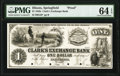 Obsoletes By State:Illinois, Springfield, IL- Clark's Exchange Bank $1 18__ as G2 Proof PMG Choice Uncirculated 64 EPQ.. ...