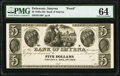 Obsoletes By State:Delaware, Smyrna, DE- Bank of Smyrna $5 18__ as G46 Proof PMG Choice Uncirculated 64.. ...