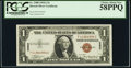 Small Size:World War II Emergency Notes, Fr. 2300 $1 1935A Hawaii Silver Certificate. F-C Block. PCGS Choice About New 58PPQ.. ...