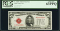 Small Size:Legal Tender Notes, Fr. 1528* $5 1928C Legal Tender Star Note. PCGS Choice New 63PPQ.. ...