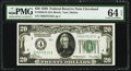 Fr. 2050-D $20 1928 Federal Reserve Note. PMG Choice Uncirculated 64 EPQ