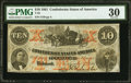 Confederate Notes:1861 Issues, T23 $10 1861 PF-1 Cr. 153 PMG Very Fine 30.. ...