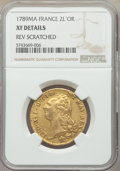 France: Louis XVI gold 2 Louis d'Or 1789-MA XF Details (Reverse Scratched) NGC