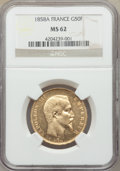 France: Napoleon III gold 50 Francs 1858-A MS62 NGC