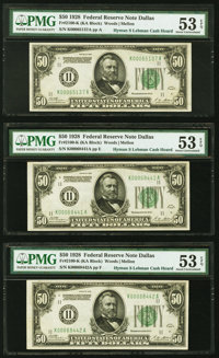 Fr. 2100-K $50 1928 Federal Reserve Notes. Three Examples. PMG About Uncirculated 53 EPQ