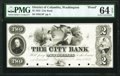 Obsoletes By State:District of Columbia, Washington, DC- City Bank $2 June 10, 1852 as G4 Proof PMG Choice Uncirculated 64 EPQ.. ...