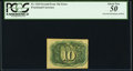 Fractional Currency:Second Issue, Fr. 1244 10¢ Second Issue Inverted Back Surcharges PCGS About New 50.. ...