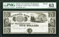 Obsoletes By State:District of Columbia, Washington, DC- Patriotic Bank of Washington $5 18__ G34 Proof PMG Choice Uncirculated 63.. ...