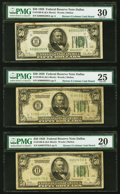Fr. 2100-K $50 1928 Federal Reserve Notes. Seven Examples. PMG Graded Very Fine 20-Extremely Fine 40