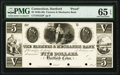 Obsoletes By State:Connecticut, Hartford, CT- Farmers & Mechanics Bank $5 18__ G22 Proof PMG Gem Uncirculated 65 EPQ, 4 POCs.. ...
