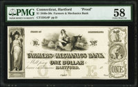 Hartford, CT- Farmers and Mechanics Bank $1 18__ G4 Proof PMG Choice About Unc 58