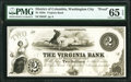 Obsoletes By State:District of Columbia, Washington City, DC- Virginia Bank of Washington City $2 18__ G4 Proof PMG Gem Uncirculated 65 EPQ.. ...