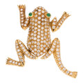 Estate Jewelry:Brooches - Pins, Diamond, Emerald, Gold Brooch . ...