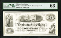 Lewiston, ME- Lewiston Falls Bank $100 18__ as G16 as Wait 27 Proprietary Proof PMG Choice Uncirculated 63