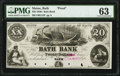 Obsoletes By State:Maine, Bath, ME- Bath Bank $20 18__ as G12 as Wait 10 Proof PMG Choice Uncirculated 63.. ...